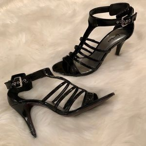 Limelight Black Strappy Buckle Patent Leather Heel